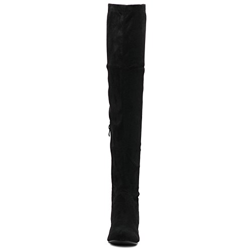 High Covered Stretch Thigh Boots Faux Ollio Suede Shoe Long Black Women's Wedge Heel qwxX0w1YE