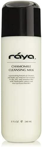 RAYA Chamomile Facial Cleansing Milk 8 oz (152)   Gentle, Soap-Free Fluid Cleanser and Make-Up Removing Lotion for Dry and Sensitive Skin   Helps Calm Irritations and Refine Pores