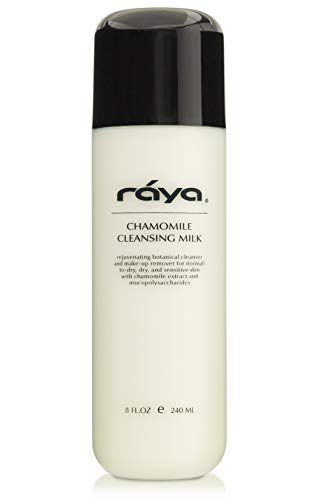 RAYA Chamomile Facial Cleansing Milk 8 oz (152) | Gentle, Soap-Free Fluid Cleanser and Make-Up Removing Lotion for Dry and Sensitive Skin | Helps Calm Irritations and Refine Pores