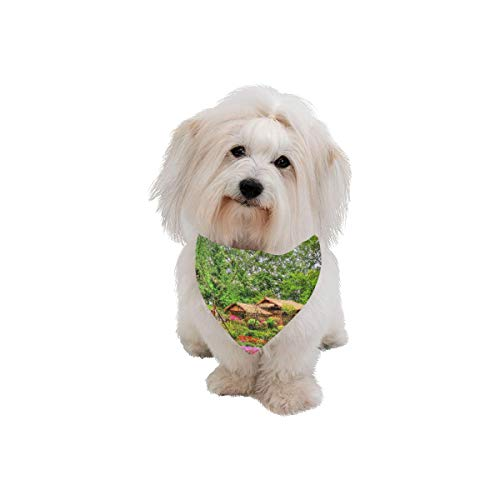 AIKENING Pet Dog Cat Bandana Suzhou Garden Attractions Tour View Fashion Printing Bibs Triangle Head Scarfs Kerchief Accessories for Large Dog Pet Birthday Party Easter Gifts