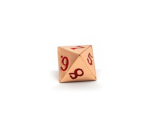 Single 8 Sided RPG Dice with Red Numbering Easy Roller Dice Co. Rose Gold Metal D8 Dice