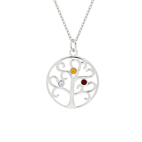 Sterling Silver Custom 3 Stone Simulated Birthstone Family Tree Pendant (16