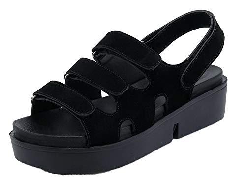 Velcro Noir Talon Unie Correct Dépolissement Couleur Sandales Femme à AgooLar wRZqzxW0pR