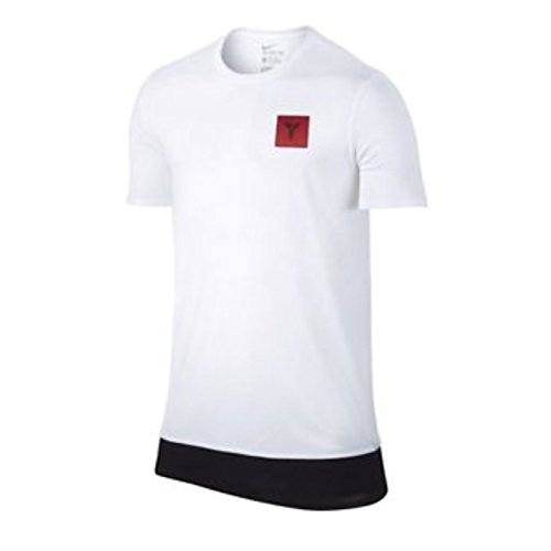 NIKE Men's Kobe Xi Drop Tail Dri-Fit T-Shirt White/Black (Medium)