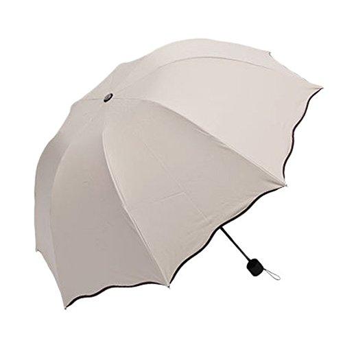 XENO-Anti-uv Sun Protection Umbrella flowers Folding Parasols Rain Umbrella New(beige)
