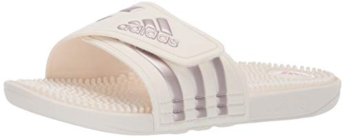 adidas Women's Adissage Slide Sandal, Vapour Grey Metallic/Cloud White, 11 M US