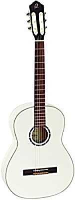 Ortega Guitars R121SNWH Family Series Slim Neck Nylon 6-String Guitar with Spruce Top, Mahogany Body, White Gloss