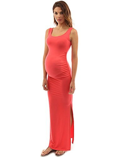 PattyBoutik Mama Scoop Neck Sleeveless Maxi Dress (Coral S) (Dress Scoop Neck Sleeveless)