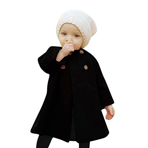 Noubeau Toddler Baby Girls Cute Fall Winter Button Cardigan Jacket Outerwear Cardigan Cloak Warm Thick Coat Clothes (Black, 5T) -