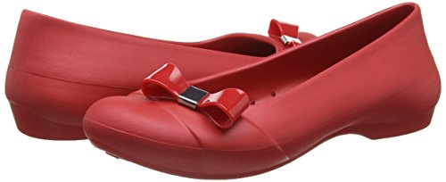 W Donna Rosso Gianna Pepper Simple Flat Bow Pepper Crocs Ballerine wqCIxn1Z
