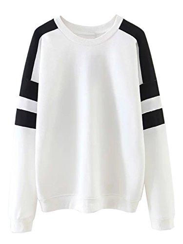 Clothink Women White Color Block Crew Neck Long Sleeves Loose Sweatshirt S