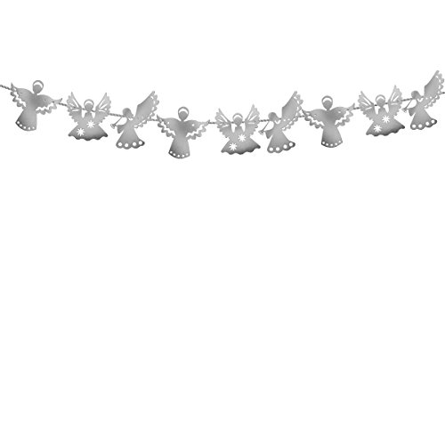 OULII Angel Paper Banner Garland Hanging Flag for Christmas New Year Wedding Party Decoration (Silver)