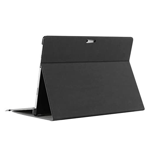 MEGOO Surface Pro 4 Folio Case, Slim Fit [Multi-Angle Viewing] [Elegant Dimply Texture] [Magnetic] Folio Stand Cover, Compatible with Type Cover Keyboard & Surface Pen & Screen Protector - Black