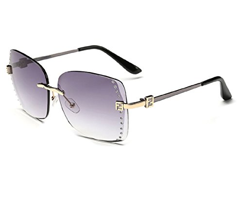 Konalla Square Rimless Gradient Lens Inlaid Crysstal Women's Sunglasses - Bans Ray Knockoffs