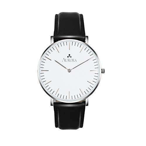 (Aurora Women's Classic Analog Quartz Watch with Black Band (Silver))