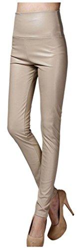 Imitation En Cuir Haute Instyle Femmes Taille Lotus Nude Pantalon ZzxqvxS