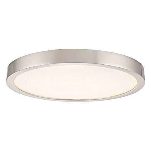 Flat LED Light Surface Mount 10-Inch Round Satin Nickel - Nickel Wall Satin Lamp Flat