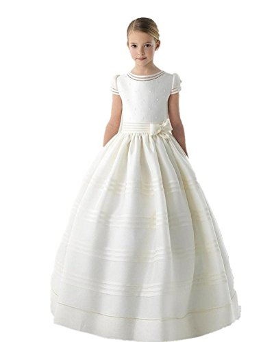 Graceprom Girls Scoop Short Sleeves First Communion Dresses with Bow Flower Girl Dress