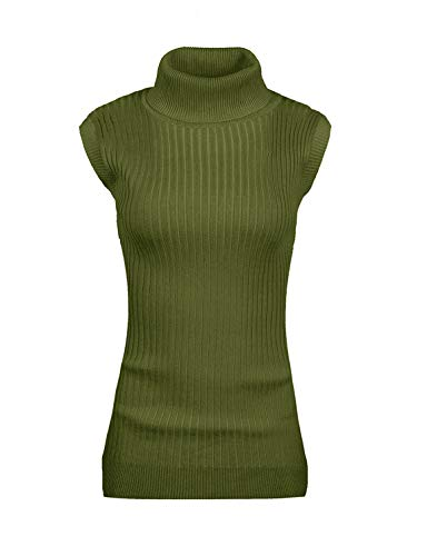 v28 Women Sleeveless High Neck Turtleneck Stretchable Knit Sweater Top-M,Olive (Best Women's Turtleneck Sweaters)