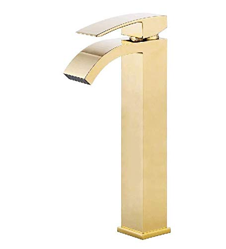 Wovier Shiny Polished Gold Waterfall Bathroom Sink Faucet,Single Handle Single Hole Vessel Lavatory Faucet,Basin Mixer Tap Tall Body,French Gold