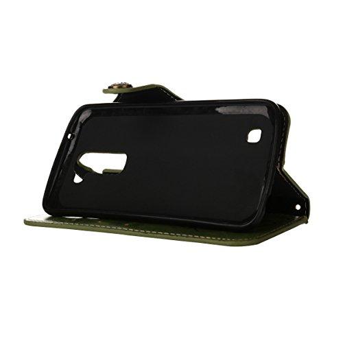 MEIRISHUN Leather Wallet Case Cover Carcasa Funda con Ranura de Tarjeta Cierre Magnético y función de soporte para LG K10 - Verde claro Verde