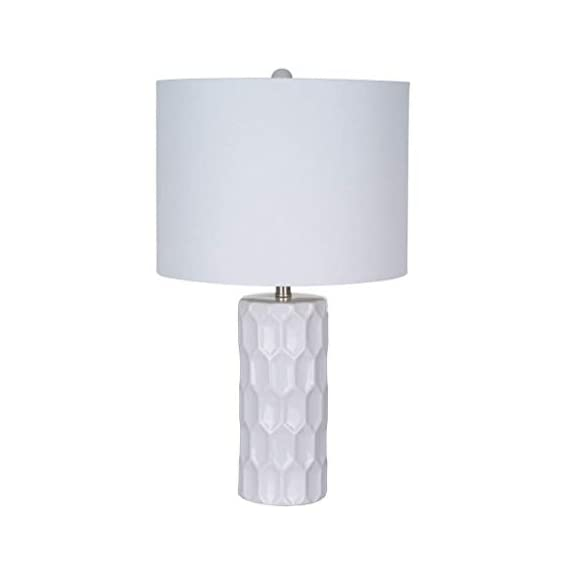 Amazon Brand – Ravenna Home Mid Century Modern White Ceramic Table Lamp With LED Light Bulb - 21 Inches, White Shade - Narrow base with wide squared shade is an eye-catching accent to mid-century and modern décor Textured ceramic base; white linen shade, brushed nickel hardware LED bulb included - lamps, bedroom-decor, bedroom - 3145b9O7DwL. SS570  -