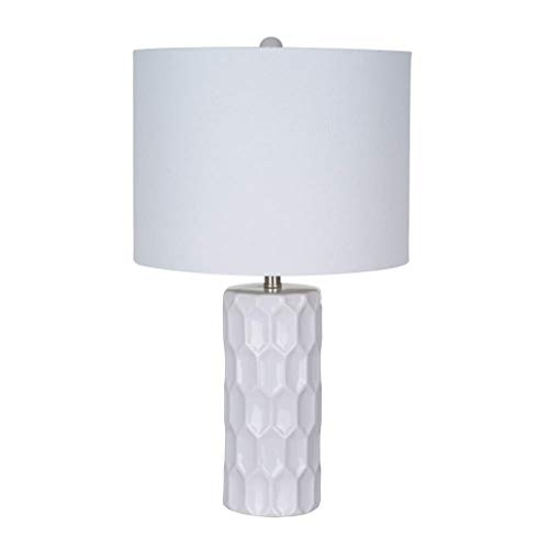 Ravenna Home Mid Century Modern White Ceramic Table Lamp With LED Light Bulb - 11 x 11 x 21 Inches, White Linen Shade (Inch Shade 21 Lamp)