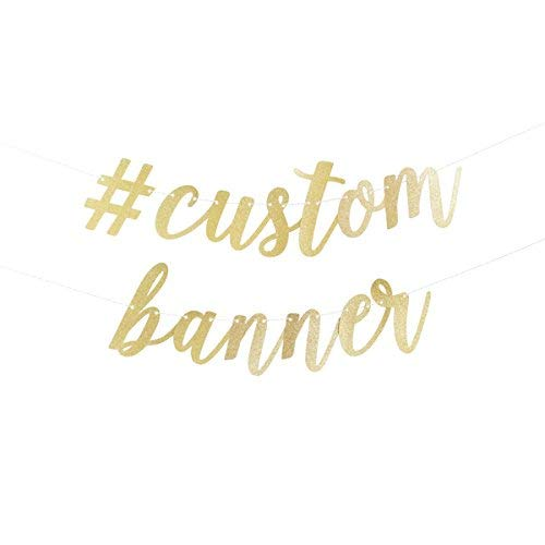 Customized Banner For Birthday (Custom Script Party Banner available in either gold or)