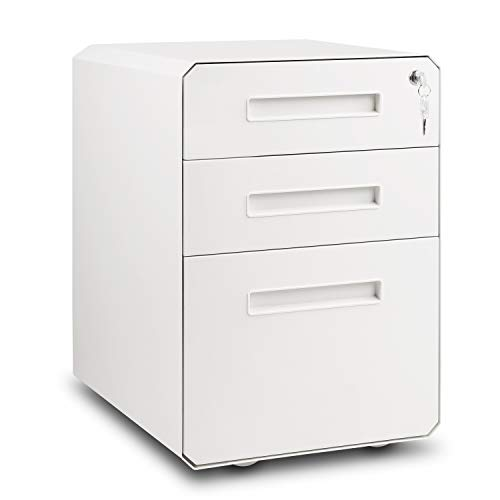 M&W 3 Drawer Mobile File Cabinet, Metal Locking Letter Filing Cabinet