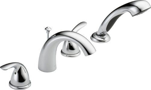 (Delta T4705 Classic Roman Tub with Hand Shower Trim, Chrome (rough-in sold separately))