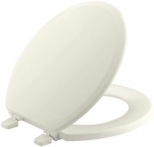 KOHLER K-4695-96 Ridgewood Molded-Wood with Color-Matched Plastic Hinges Round-front Toilet Seat, Biscuit - Round Front Bowl Seat