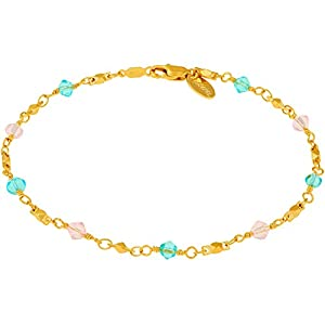 Lifetime Jewelry Ankle Bracelet for Teen Girls & Women [ Gold Anklet with Cute Sky-Blue & Pink Stones ] 20X More 24k…
