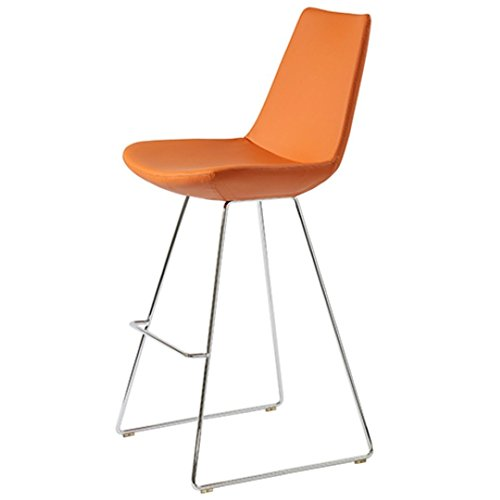 MobiliModern Electra Bar Chrome Wire Chair Pastel Orange Leatherette ()