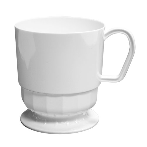 Party Essentials Elegance Hard Plastic Coffee Cup w/Handle, 8-Ounce Capacity, White, Tea Mug, Disposable (Case of 120)
