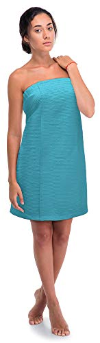 (Women's Waffle Spa Body Wrap with Adjustable Closure (One Size, Turquoise))