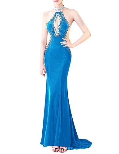 Blue Velvet Bess Backless Bridal Dress Ocean Beaded Prom Keyhole Women's Mermaid Evening 1nwZgqp