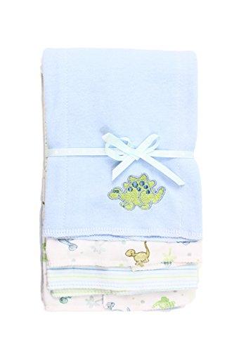 Spasilk Baby-Boys Newborn 3 Pack 100% Cotton Burp Cloths, Blue Dino, One Size
