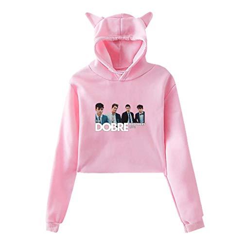 (Dobre Brothers Crop Top Hoodie for Women Girls Cute Cat Ear Hoodie Hooded Sweatshirt Pink)