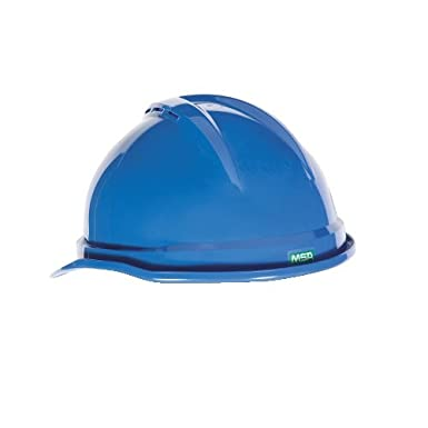 MSA 10034019 V-Gard 500 Vented Style Protective Cap with Fas Trac 4 Point Ratchet Suspension Blue Standard
