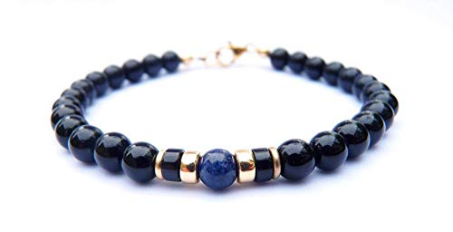 (Mens 14K GF Genuine Sapphire September Birthstone Gold Gemstone Beaded Bracelets, Husband Father Son Boyfriend Gifts for Him, Jewels for Gents)