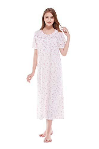 Keyocean Nightgown's for Women Plus Size All Cotton Print Short Sleeve Long Soft Lightweight Nightgown Sleep Wear Lounge wear X-Large