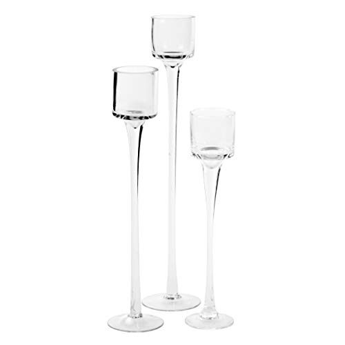 Koyal Wholesale Long Stemmed Tealight Candle Holder, Set of 3, Pedestal Tea Light Glass Candle Holders, Candle Table Runner Display for Wedding Centerpiece Table, Fall Table Centerpiece, Bridal Shower