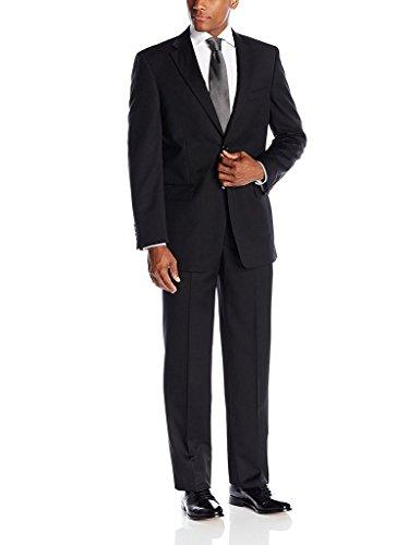 15 Men's Portly Fit Suit - Black - 48S (Portly 2 Button Jacket)
