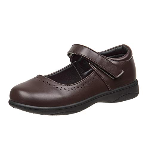 Petalia Girls' Cushioned School Uniform Shoes (Toddlers/Little Kid/Big Kids), Brown, Size 3 M US Big Kid