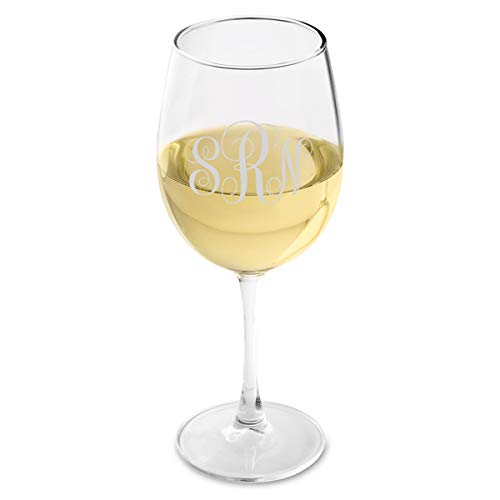 Monogrammed White Wine - Personalized White Wine Glass - Interlocking Monogram White Wine Glass - Monogrammed Wine Glass