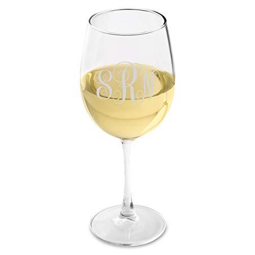White Monogrammed Wine - Personalized White Wine Glass - Interlocking Monogram White Wine Glass - Monogrammed Wine Glass