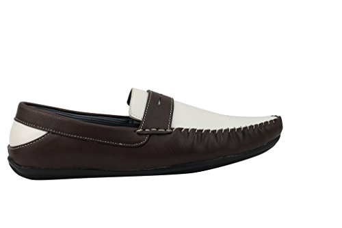Pelle Plateau Brown Nero Marrone Slip Mens On Casual scarpe White Smart Finta In Mocassino Bianco piatte YRUaxxnHq