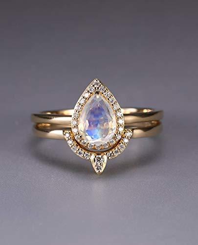 Amazon Com Natural Pear Shaped Cut Moonstone Engagement Ring Set