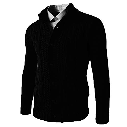Koodred Men's Stylish Stand Collar Cable Knitted Button Down Cardigan Sweater with Pockets