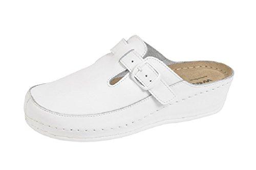 Clog Zuecos Para keilsohle Mujer Pu Weeger Blanco Mit dfAqd8